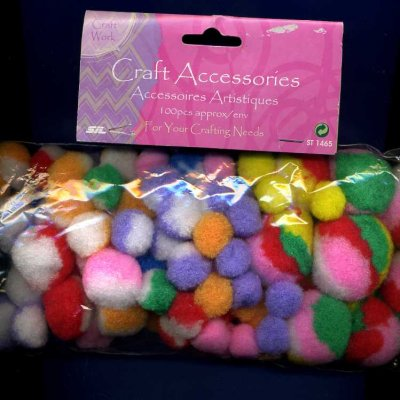 Mixed Pompoms - Different Sizes & Colours x 100