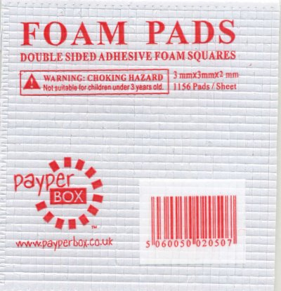 Double sided 3D foam pads - 3mm x 3mm x 2mm