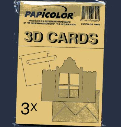 3D Window Card Blanks & Envelopes - Brown x 3