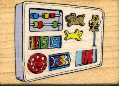 Wood Mounted Rubber Stamp - Baby's Activity Centre
