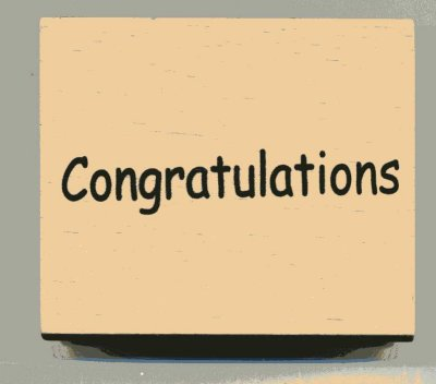 Wood Mounted Rubber Stamp - Congratulations
