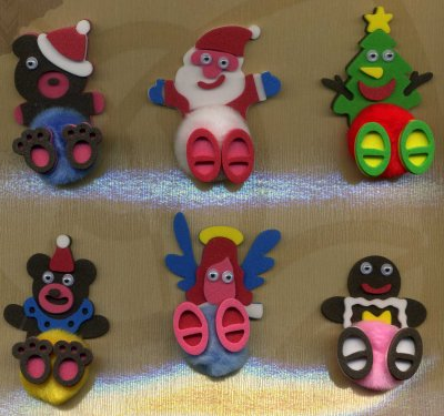 6 x 3D Pompom Toppers - Teddy, Santa, Tree