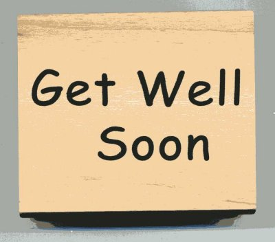 Wood Mounted Rubber Stamp - Get Well Soon