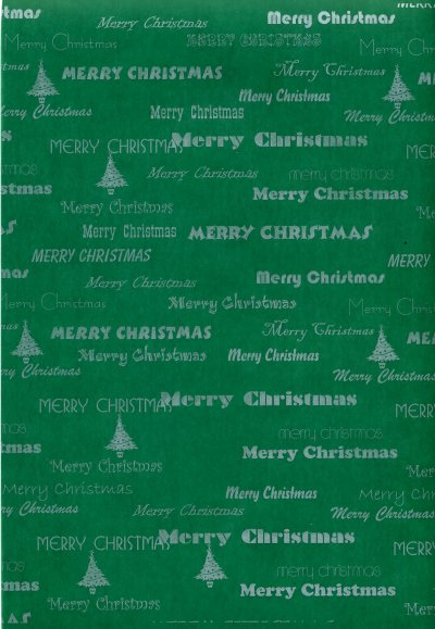 Printed Vellum A4 - Merry Christmas (Green & White)