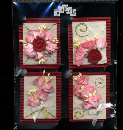 3D Paper Toppers - Red & Pink Flowers