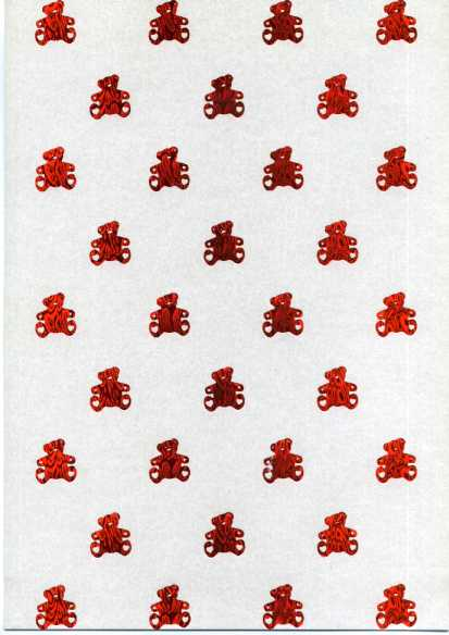 Embossed Pearl Card A4 - Teddies - Red on White