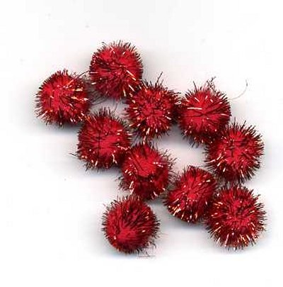 "Pompoms 1/2"" - Red Sparkle x 10"