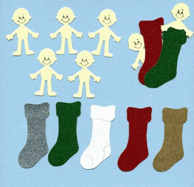 Christmas Stocking Babies - Glitter Card x 5