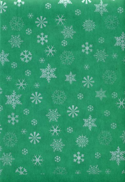 Printed Vellum A4 - Snowflakes (Silver on Green)