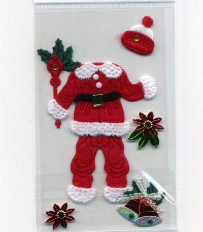 Christmas Foil & Felt Stickers - Santa Clothing (FX162)