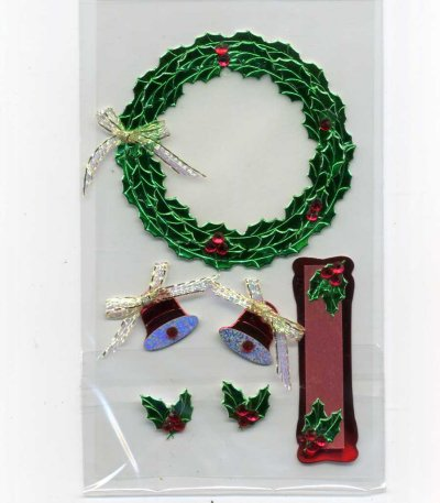 Christmas Foil & Felt Stickers - Wreath & Bits (FX177)