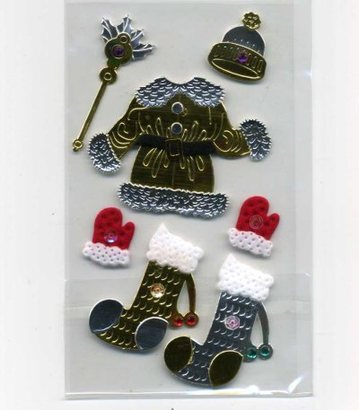 Christmas Foil Stickers - Santa & Stockings (FX179)