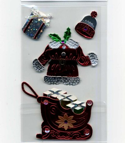 Christmas Foil Stickers - Santa Clothes & Sleigh (FX182)