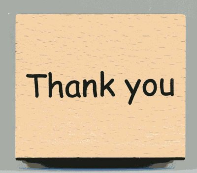 Wood Mounted Rubber Stamp - Thank You