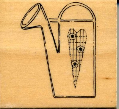 Wood Mounted Rubber Stamp - Watering Can
