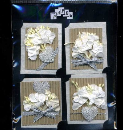 3D Paper Toppers - White & Silver Flowers