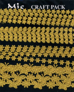 4m Assorted Fabric Ribbons - Gold - KP832