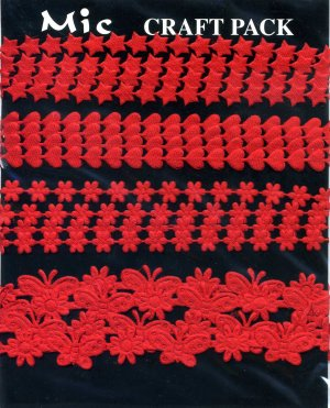 4m Assorted Fabric Ribbons - Red - KP831