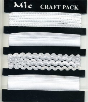 4m Assorted Fabric Ribbons - White - KPP014