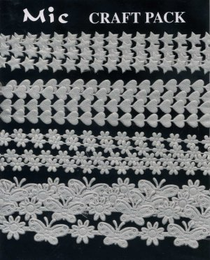4m Assorted Fabric Ribbons - Silver Grey - KP833
