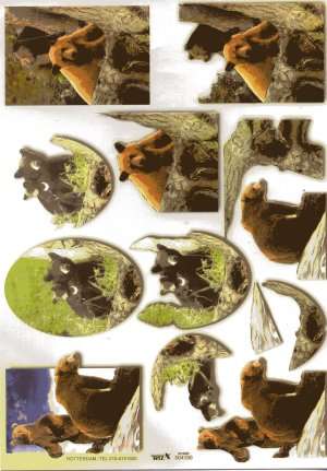 A4 Decoupage Sheet - Bears (504150)