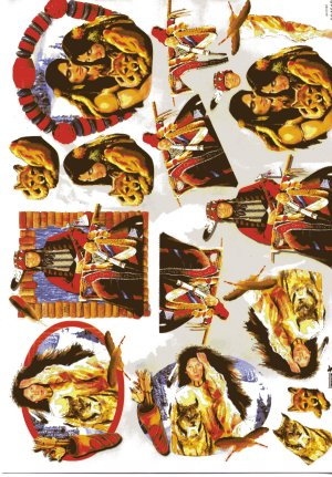 A4 Decoupage Sheet - Red Indians (504518)