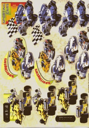 A4 Decoupage Sheet - Sporting Racing Cars (504134)