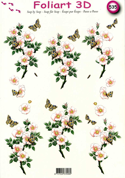 A4 Decoupage Sheet - Wild Roses