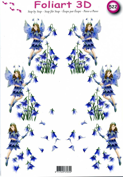 A4 Decoupage Sheet - Bluebell Fairies