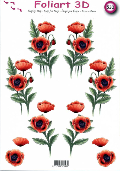 A4 Decoupage Sheet - Poppies