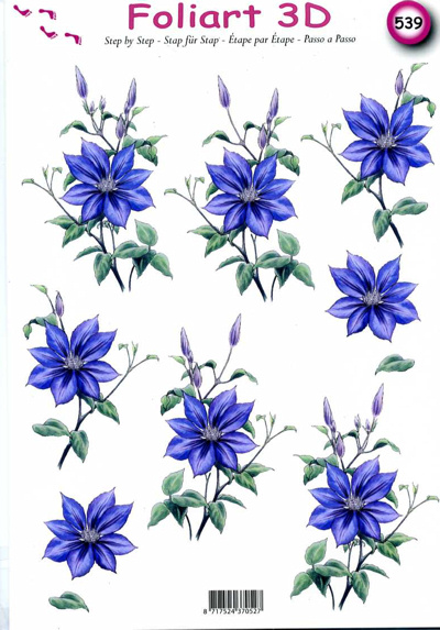 A4 Decoupage Sheet - Clematis