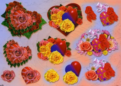 A4 Decoupage Sheet - Hearts & Roses (504046)