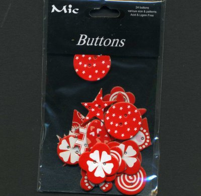 Chipboard Buttons - Red x 24 (KP793)