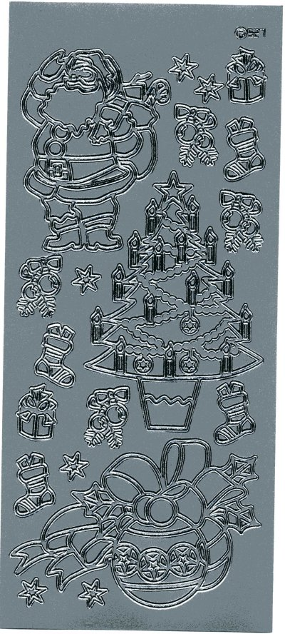 Christmas Tree, Santa & Decorations - Silver