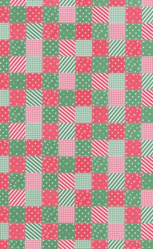 Printed Card A4 - Patchwork (Red/Green)