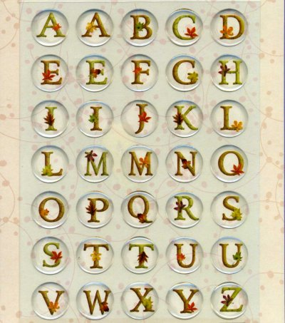Crystal Stickers - Alphabet Circles - Leaves (FX 371)