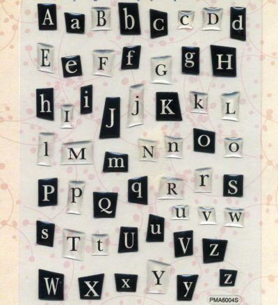 Crystal Stickers - Alphabet Ransom - Black (FX 372)