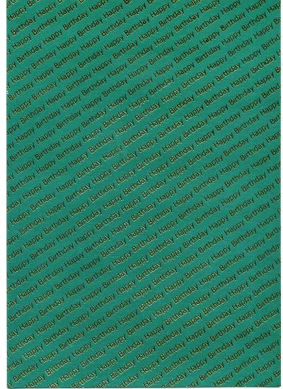 Embossed Pearl Card A4 - Birthday - Gold on Green