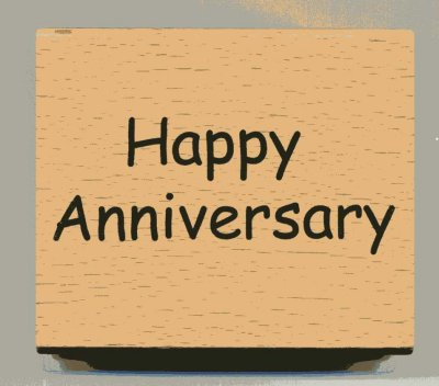 Wood Mounted Rubber Stamp - Happy Anniversary