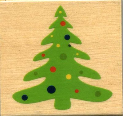 Wood Mounted Rubber Stamp - Christmas Tree