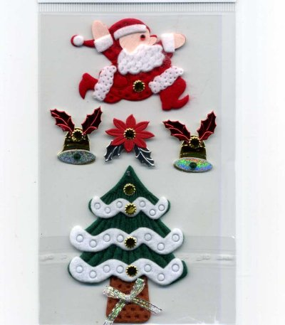 Christmas Foil & Felt Stickers - Santa & Tree (FX164)