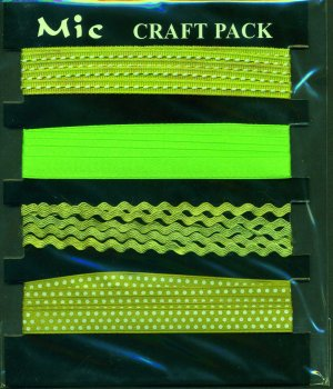 4m Assorted Fabric Ribbons - Green - KPP016