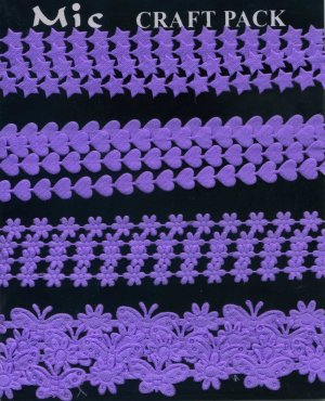 4m Assorted Fabric Ribbons - Lilac - KP828