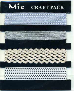 4m Assorted Fabric Ribbons - Silver - KPP015