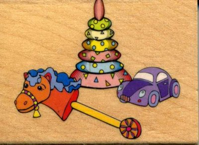 Wood Mounted Rubber Stamp - Baby's Toys