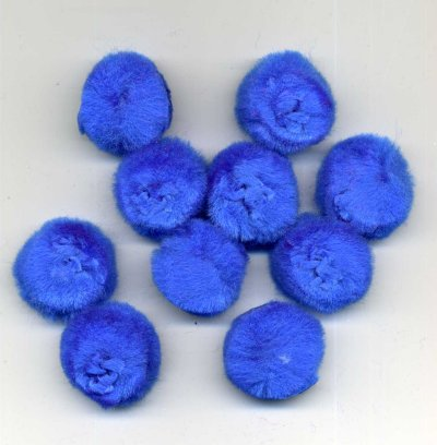 "Pompoms 1"" - Blue (Bright Blue) x 10"
