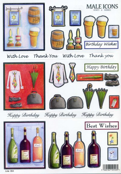 3D Die Cut Decoupage - Beer, Work & Wine