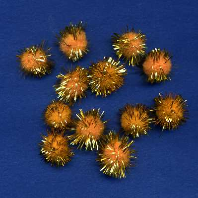 "Pompoms 1/2"" - Gold Sparkle x 12"