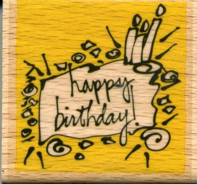 Wood Mounted Rubber Stamp - Happy Birthday (Funky)