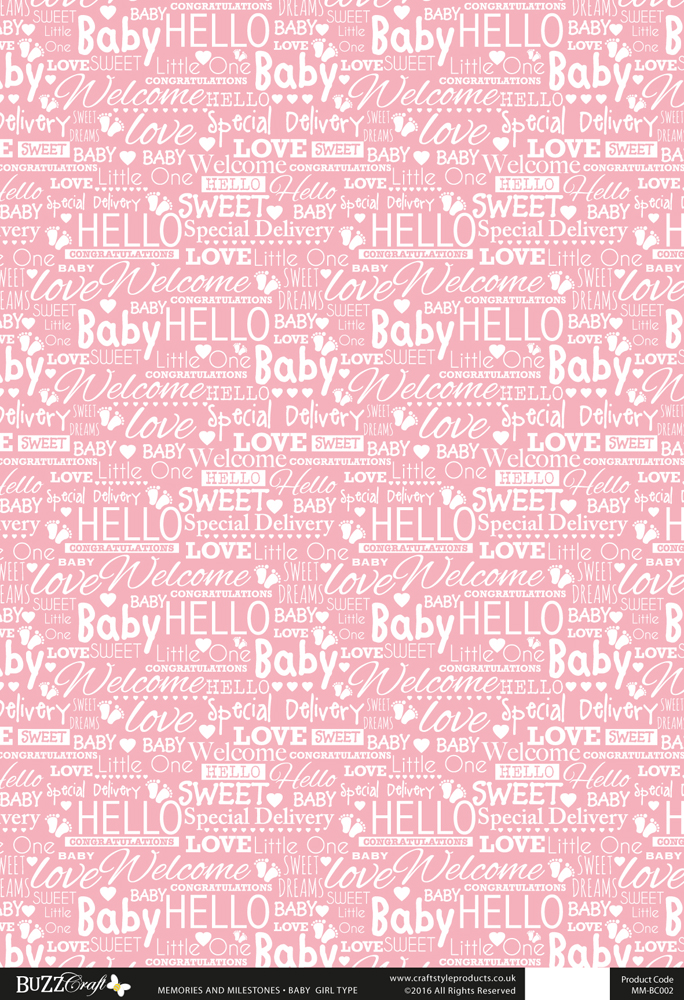 Printed Card A4 - Baby Girl Type